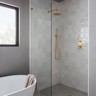 Mid-sized trendy master ceramic tile and white tile gray floor bathroom photo in Los Angeles with gray walls