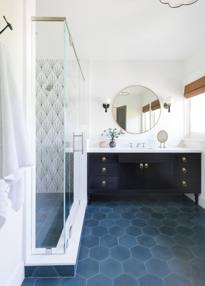 Transitional Bathroom by Taylor Jacobson Interior Design