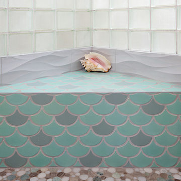 Hand Painted Tile Tones Pulled From The Marble Pebble Mosiac