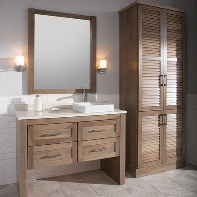 Inspiration for a mid-sized transitional 3/4 white tile and subway tile porcelain tile and gray floor bathroom remodel in Manchester with a vessel sink, flat-panel cabinets, light wood cabinets, solid surface countertops, gray walls and white countertops