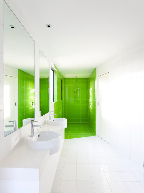 Modern white bathroom houzz for Modern white bathroom designs