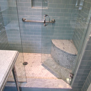 Design ideas for a small traditional 3/4 bathroom in Chicago with marble benchtops, an alcove shower, blue tile, ceramic tile, marble floors, green walls, a console sink, grey floor and a hinged shower door.
