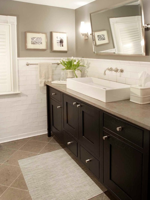 Example Of A Classic Bathroom Design In New York With A Vessel Sink