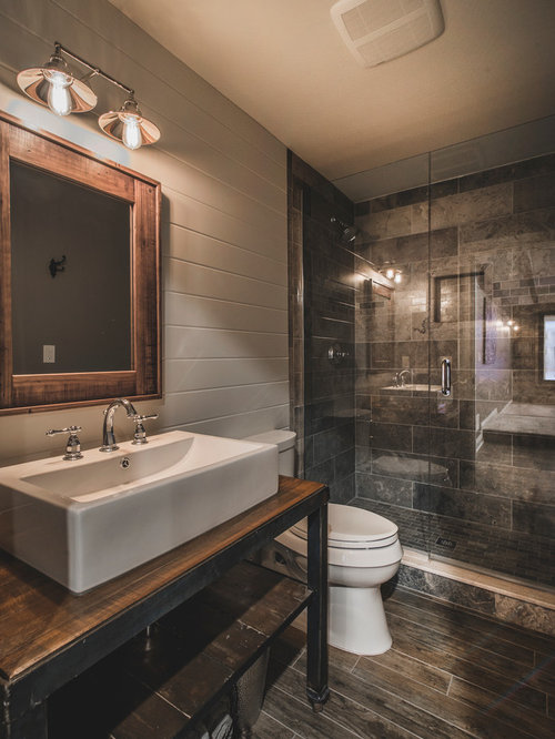 Rustic bath design ideas pictures remodel decor with for Gray rustic bathroom