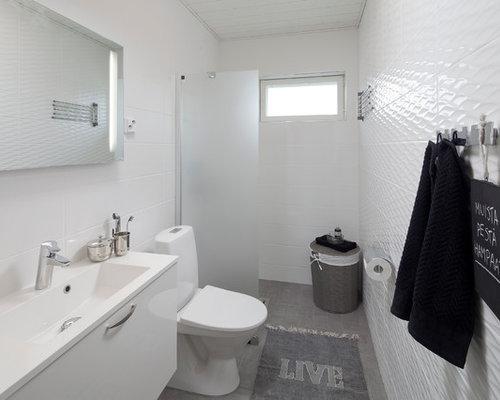 skandinavische badezimmer mit wandtoilette mit sp lkasten. Black Bedroom Furniture Sets. Home Design Ideas