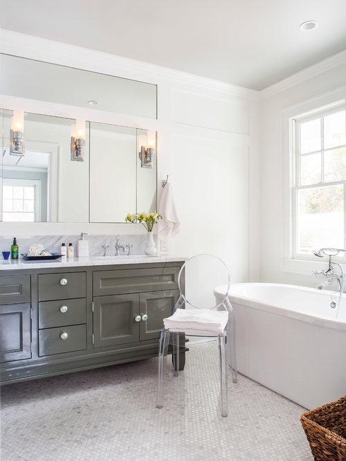 example of a midsized master ceramic floor bathroom design in atlanta with recessed