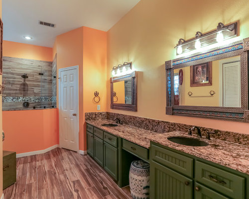 Southwestern Bath Design Ideas Pictures Remodel Decor With Green Cabinets