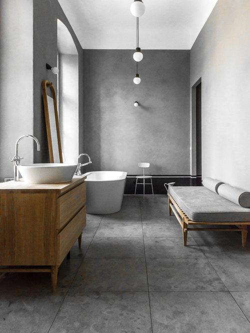 badezimmer mit grauen fliesen und porzellanfliesen ideen design bilder houzz. Black Bedroom Furniture Sets. Home Design Ideas