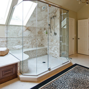 Example of a large classic master beige tile alcove shower design in Chicago with raised-panel cabinets, beige walls and an undermount sink