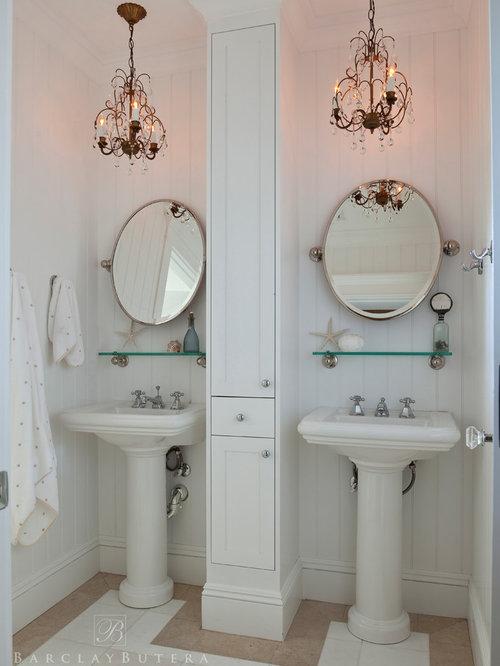 beach style sink pedestal bathroom design ideas remodels photos
