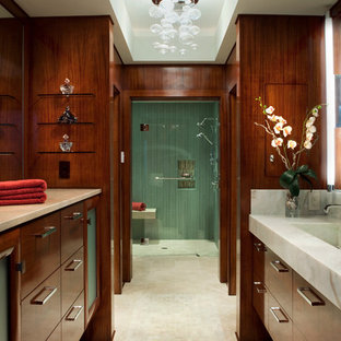 Trendy green tile alcove shower photo in Wilmington with flat-panel cabinets and dark wood cabinets