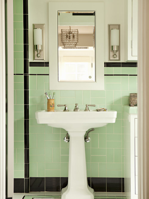 Inspiration For A Victorian Green Tile Bathroom Remodel In Los Angeles With  A Pedestal Sink