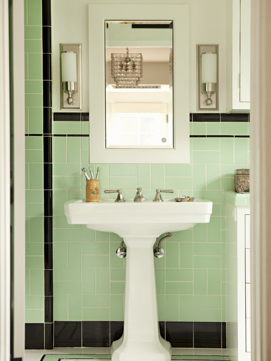 Bathroom Design Ideas Remodels Photos With Green Tile