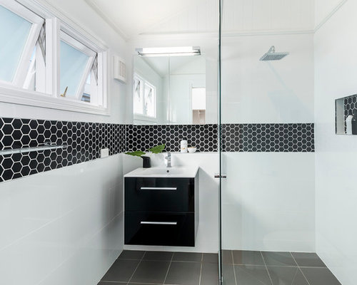 Black hexagon tile home design ideas pictures remodel for Small family bathroom design