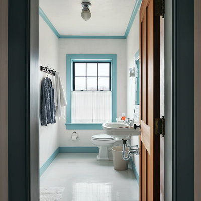 Inspiration for a country painted wood floor and gray floor bathroom remodel in New York with white walls