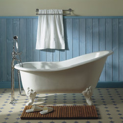 Herbeau Marie Louise Cast Iron Soaking Tub - Herbeau Marie Louise Cast Iron Soaking Tub in White, available in 12 handpainted patterns. Shown with cast iron feet, additional metal plating available in 9 finishes.