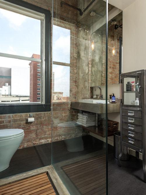 amnagement dune salle de bain industrielle avec un wc poser - Carrelage Salle De Bain Effet Beton