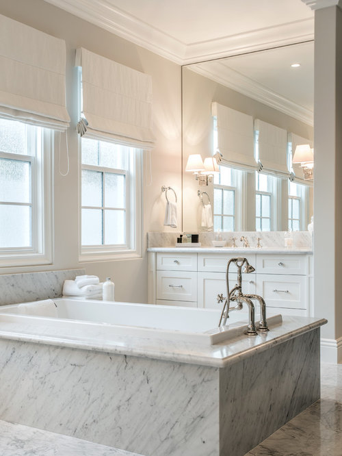 Large Transitional Master White Tile And Stone Marble Floor Drop In Bathtub Idea