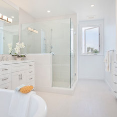 Beach style bathroom design ideas remodels photos with for J bathrooms westcliff