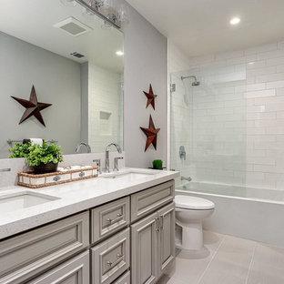 75 most popular transitional beige tile bathroom design