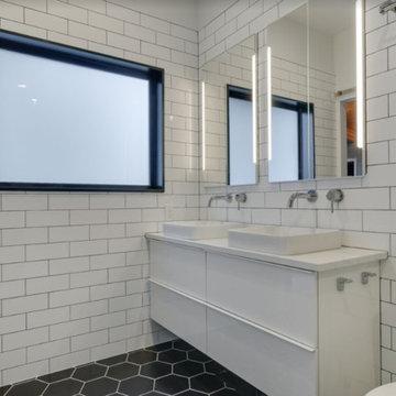 Hexagon and Subway tile bathroom