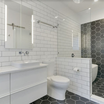 Hexagon and Subway tile bathroom