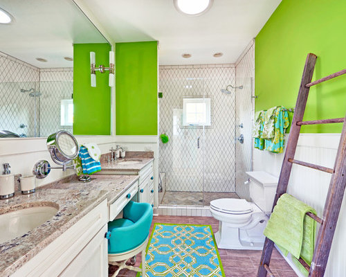 Inspiration For A Beach Style White Tile Alcove Shower Remodel In  Philadelphia With An Undermount Sink