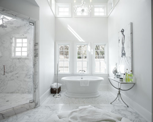 White Marble Bathroom : White marble bathroom design ideas remodel pictures houzz