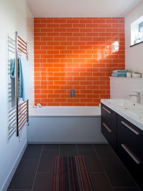 contemporary gray floor bathroom idea in devon - Bathroom Ideas Orange