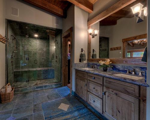Bathroom   Large Rustic Master Gray Tile Ceramic Floor And Gray Floor  Bathroom Idea In Sacramento