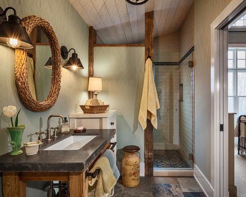 Landhausstil badezimmer mit gr ner wandfarbe ideen design - Landhausstil wandfarbe ...