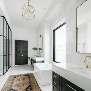 Transitional master white floor bathroom photo in Phoenix with recessed-panel cabinets, black cabinets, white walls and an undermount sink