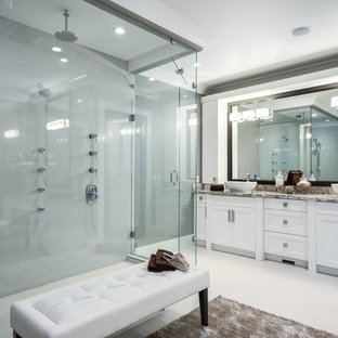 Example of a transitional bathroom design in Vancouver with a vessel sink