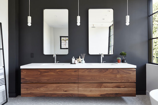New Transitional Bathroom by Designtheory Inc
