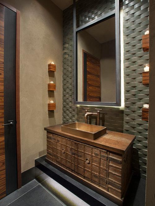 large southwest 34 gray tile and mosaic tile slate floor and gray floor bathroom - Bathroom Ideas Large