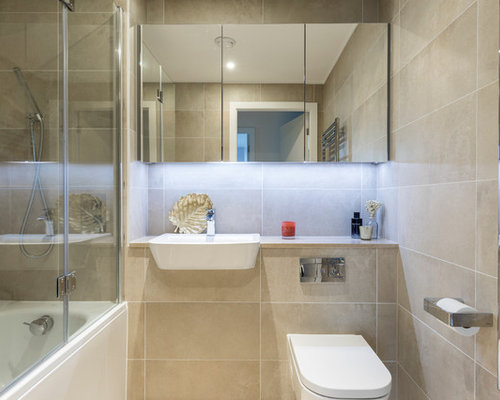 Inspiration For A Medium Sized Modern Shower Room In London With A Shower/ Bath Combination