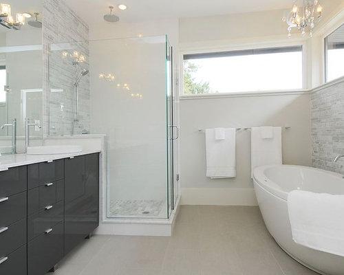 Trendy bathroom photo in Vancouver with a freestanding tub - Dark Gray Bathroom Vanity Houzz