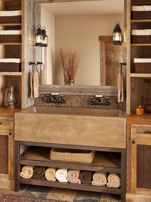 Rustikale badezimmer mit waschtisch ideen beispiele f r - Rustikale badezimmer ...