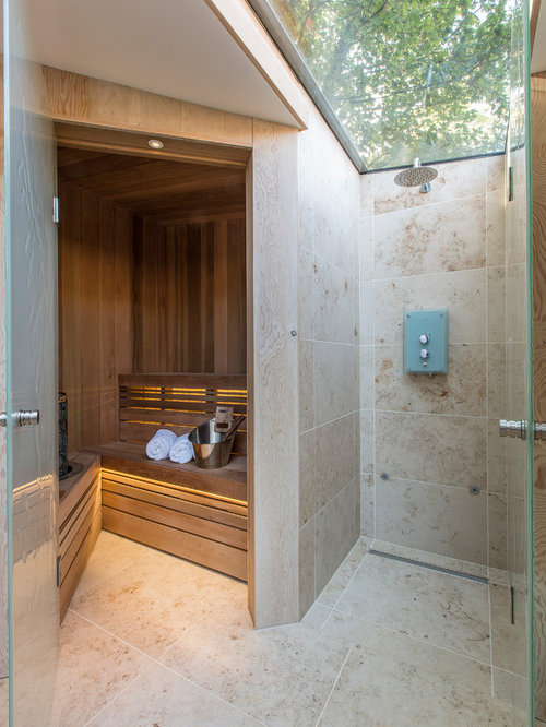 Design Ideas For A Contemporary Sauna In London With Beige Tiles.