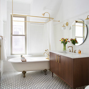 Great Bathroom   Small Traditional Master White Tile And Subway Tile Gray Floor Bathroom  Idea In Denver
