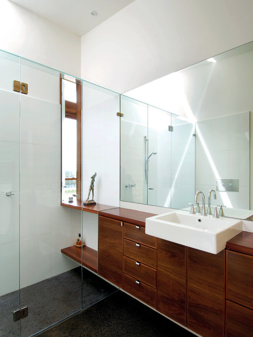 Small minimalist master walk-in shower photo in Melbourne with a vessel  sink, flat - Narrow Depth Vanity Houzz