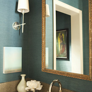 This is an example of a transitional bathroom in Los Angeles with an undermount sink and blue walls.