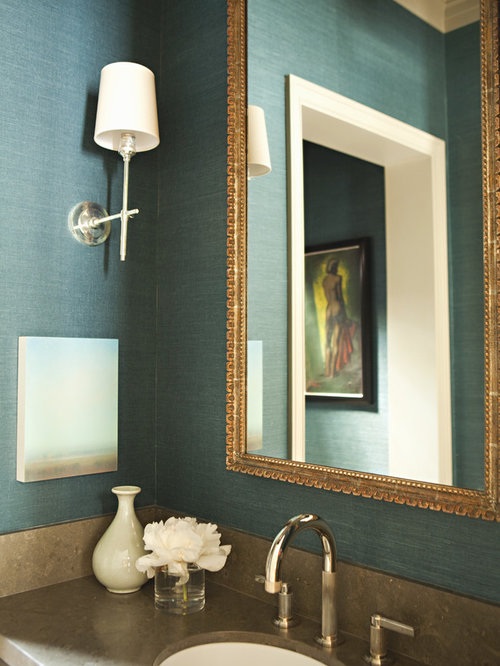 Marvelous Example Of A Transitional Bathroom Design In Los Angeles With An Undermount  Sink And Blue Walls