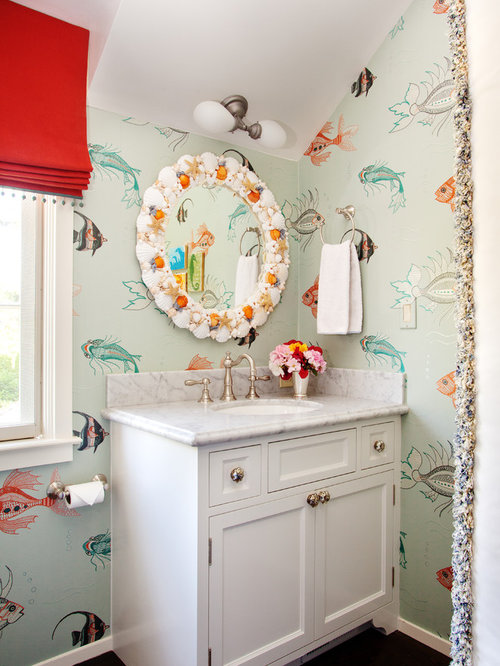 Elegant Example Of An Eclectic Kidsu0027 Bathroom Design In San Francisco With An  Undermount Sink,