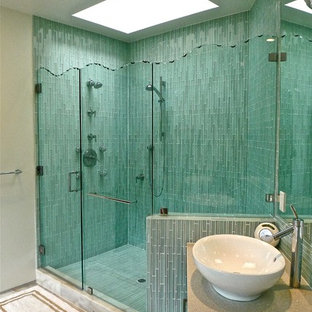 Inspiration for a contemporary blue tile and matchstick tile alcove shower remodel in San Francisco with a vessel sink and beige walls