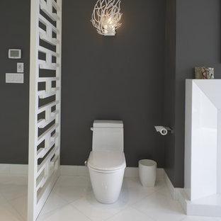 Trendy white tile bathroom photo in Vancouver