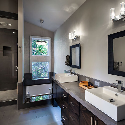 inspiration for a large master gray tile and porcelain tile porcelain floor bathroom remodel in