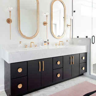 Design ideas for a midcentury master bathroom in Nashville with flat-panel cabinets, black cabinets, white walls, an undermount sink and white benchtops.