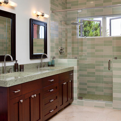 Inspiration for a timeless green tile bathroom remodel in San Francisco with shaker cabinets, terrazzo countertops, dark wood cabinets and green countertops