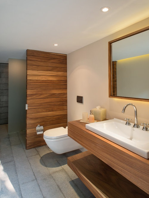 inspiration for a mid sized modern bathroom remodel in mexico city with a vessel sink - Modern Bathroom